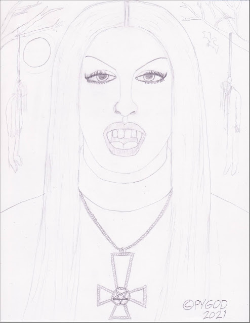 Black Metal Chick - Artwork in progress step 2. SatansSchlongs.com