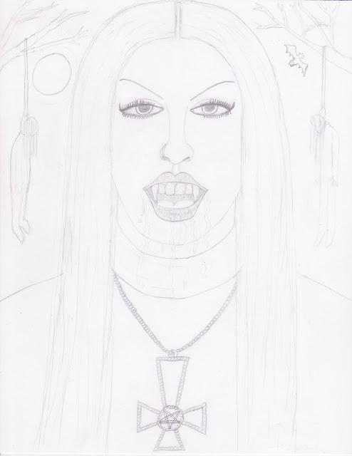 Black Metal Chick - Artwork in progress step 3. SatansSchlongs.com