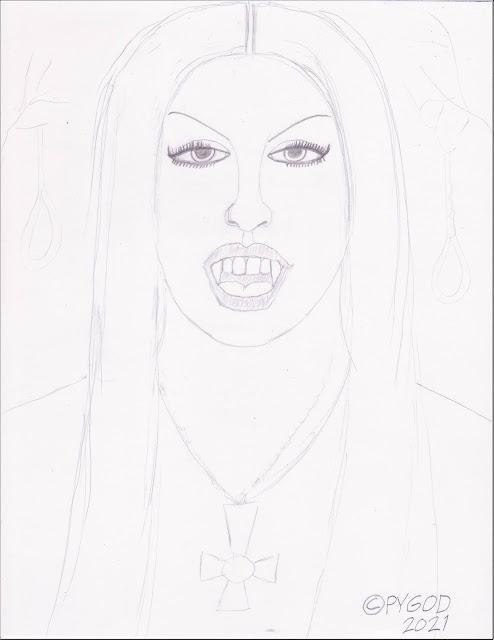 Black Metal Chick, Artwork in progress step 1. SatansSchlongs.com
