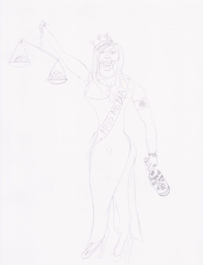 Artwork in Progress: Miss Media step 1. SatansSchlongs.com