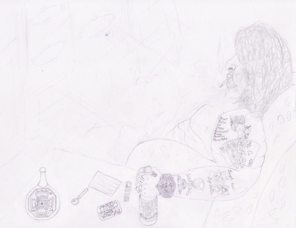 Artwork in Progress - Saint Calice Dieu du Vice step 2
