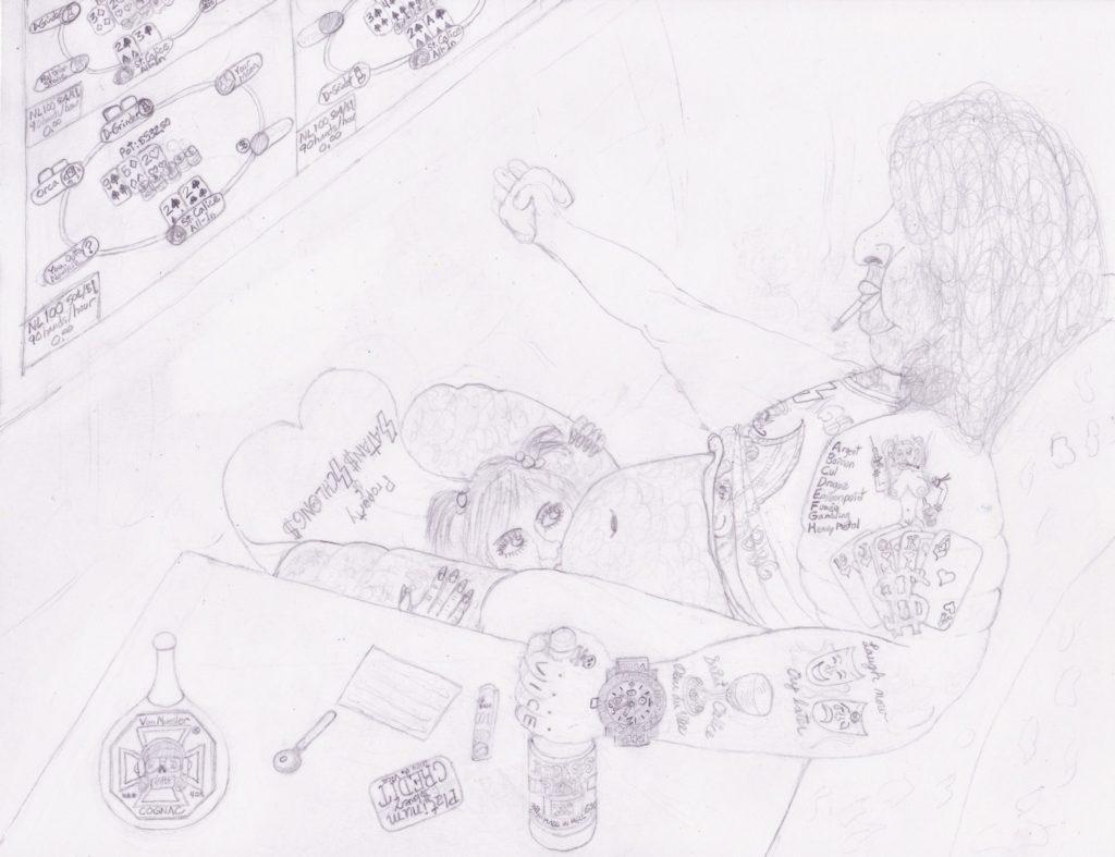 Artwork in Progress - Saint Calice Dieu du Vice step 3. SatansSchlongs.com