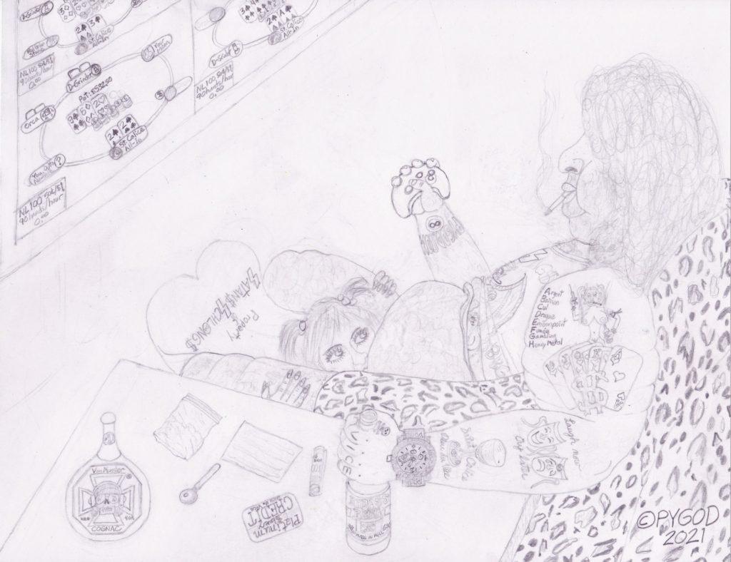 Artwork in Progress - Saint Calice Dieu du Vice step 4. SatansSchlongs.com