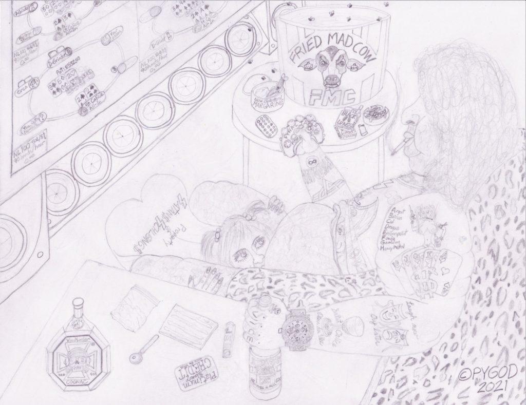 Artwork in Progress - Saint Calice Dieu du Vice step 5. SatansSchlongs.com
