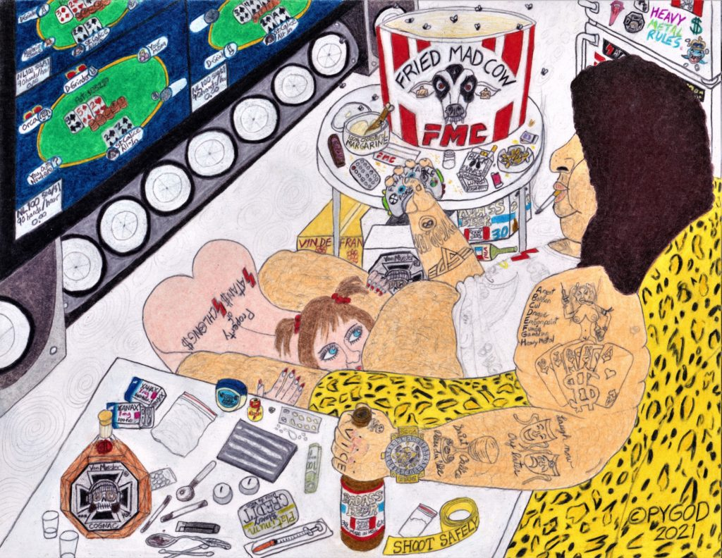 Artwork in Progress - Saint Calice Dieu du Vice. coloring part 2. SatansSchlongs.com