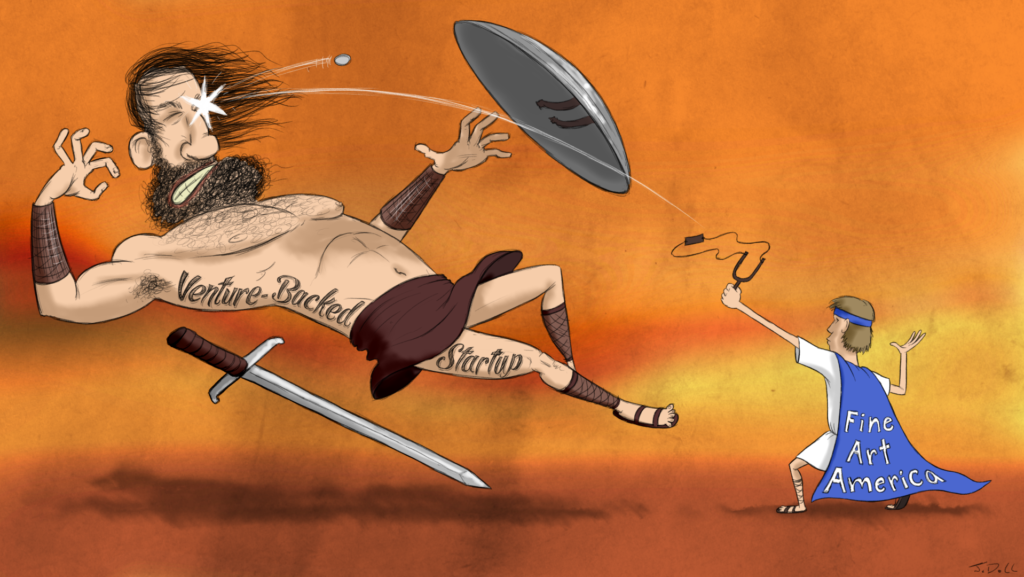 Fine Art America vs Venture-Backed Startup David trashing Goliath. SatansSchlongs.com